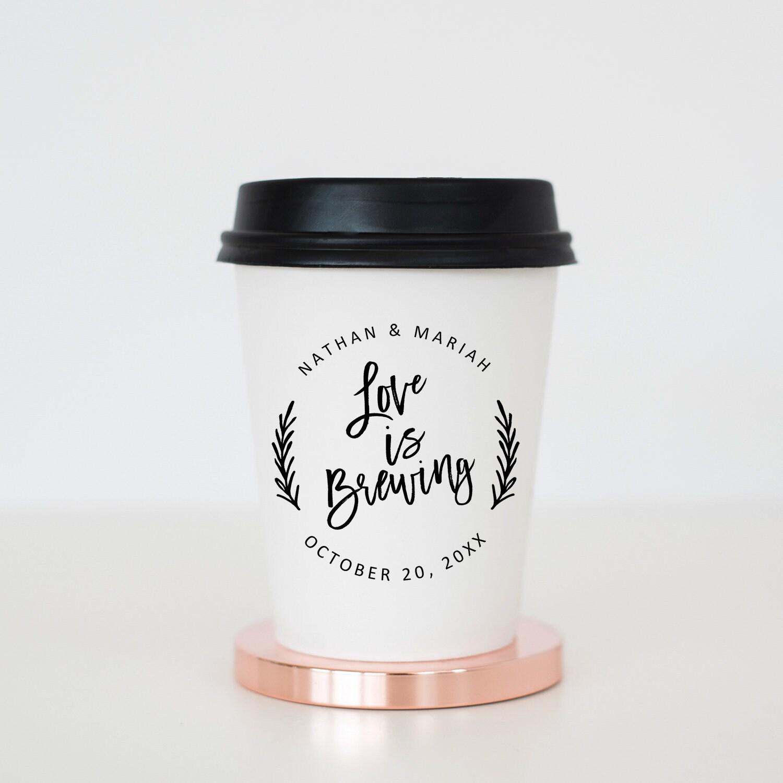 Love is Brewing Stamp, Coffee Sleeve Stamp, Wedding Stamps, Custom ...