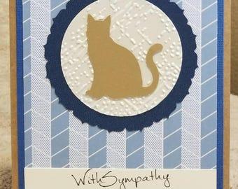 Pet sympathy card - blue, cream and gold - cat sympathy (blank inside) CraftNinjaStudios