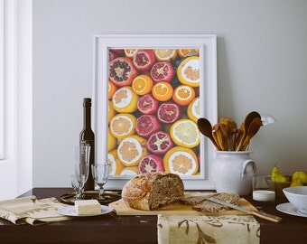 Citrus Art Print, Food Photography, Fruit Photography, Fruit Kitchen Decor, Food Art Print, Kitchen Decor, Dining Room Decor, Home Decor
