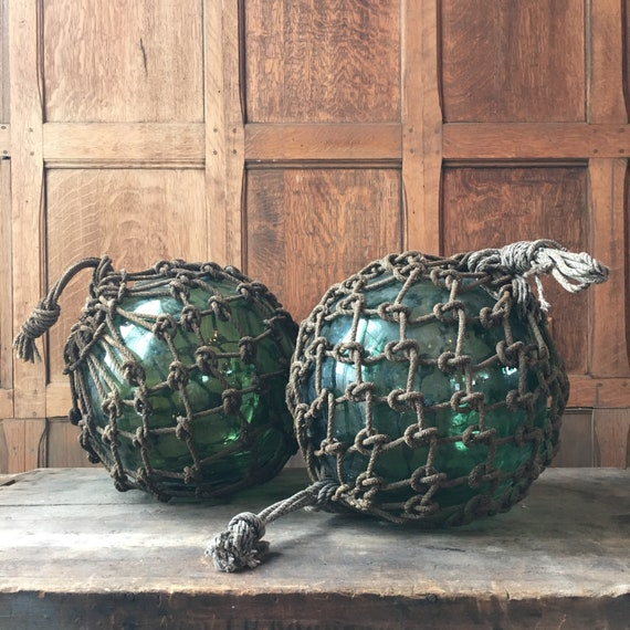 Pair Of Large Glass Fishing Floats, Japanese Green Blue Glass Fishing Floats, Nautical Decor