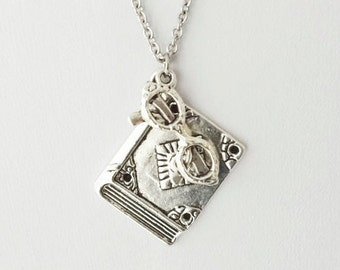 Librarian Necklace, Reader Necklace, Student Necklace, BFF Gift, Best Friend Gift, Bookworm Gift, Teacher Gift, Silver Necklace, Girl Gift