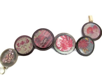 Handmade Button Bracelet, Upcycled Bracelet, Decoupage Bracelet