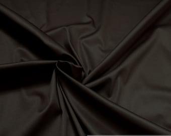 Fabric cotton elastane satin dark brown noble