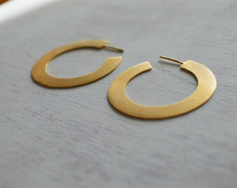 Hoop silver earrings flat edge