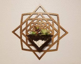 Wall Hanging Planter // Laser Cut . Wood . Engrave . Personalized . Succulents . Tillandsia . Plants . Geometric . Custom . Design // v.04