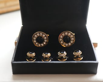 Crystal Cufflinks and shirt studs gold  Finish, Black Onyx Clear Swarovski crystal shirt studs, Tuxedo Cufflinks Groom accessories