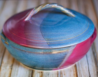 Ceramic covered cassarole baking dish-Twilight Blue/ Raspberry Red hand thrown stoneware ceramic casserole baking dish with lid