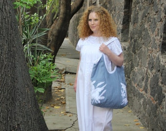 Blue Linen with white Otomi embroidery tote with hand embroidered and handwoven  details