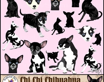 Chi Chi Chihuahua set 2 dog clip art graphics - 16 gorgeous full color 7 huge Chihuahuas and 4 faces and 5 silhouettes {INSTANT DOWNLOAD}