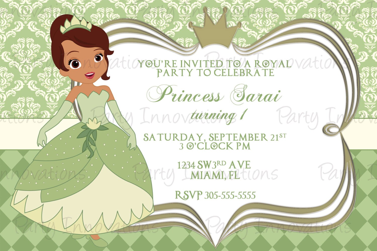 Printable Princess Tiana Birthday Party Invitation