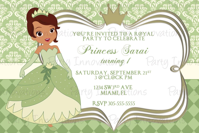Printable princess tiana birthday party invitation zoom filmwisefo