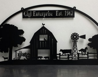 Farm scene personalized with family or business name