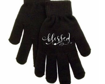 Blessed Religious Faith Christian Touch Screen Compatible Texting Stretch Knit Gloves Winter Clothes Jenuine Crafts