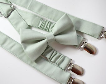 Sage Green bow tie and Suspender Set for baby/toddler/teen/adult/Men