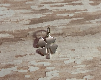 Solid Sterling Silver Lucky Clover Charm, Four Leaf Clover, Shamrock Pendant, 925 Sterling Earring Jewelry, Necklace Findings