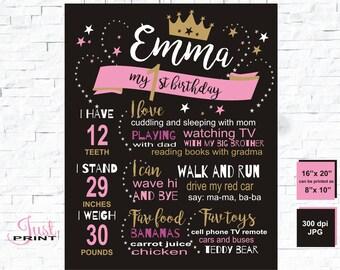 First birthday chalkboard, princess 1st birthday, chalkboard sign, personalized chalkboard girl, bday board, 1st 2nd, 1st birthday chalk