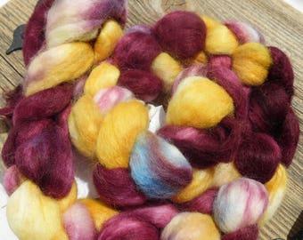 Handpainted Alpaca wool Roving Top Dyed 4oz Alpaca Braid