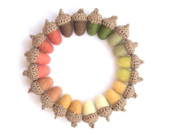 10 felted wool Acorns autumn fall Weddings favor country decorations woodland nursery yellow orange brown garland