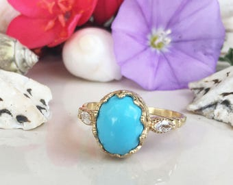 20% off- SALE!! Turquoise Ring - December Birthstone - Sleeping Beauty Turquoise - Statement Ring - Oval Ring - Bezel Ring - Gemstone Band