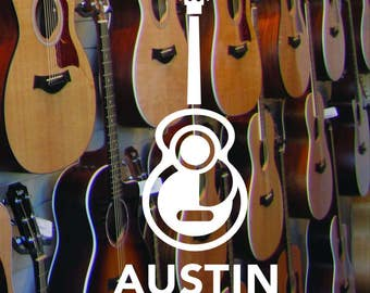 Austin Texas Guitar Sticker
