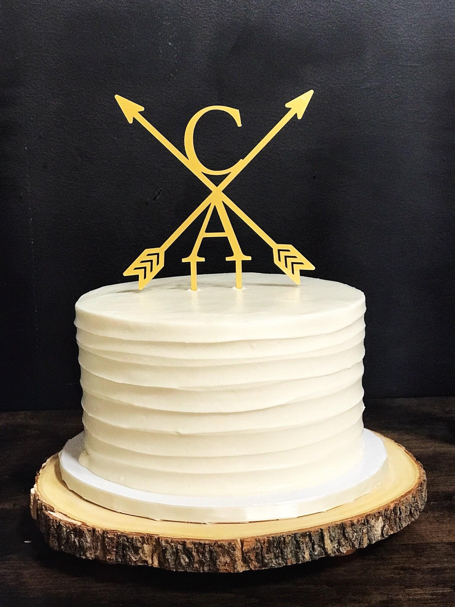 Wedding Cake Topper,Custom Topper,Initial Cake Topper,Arrow Cake ...