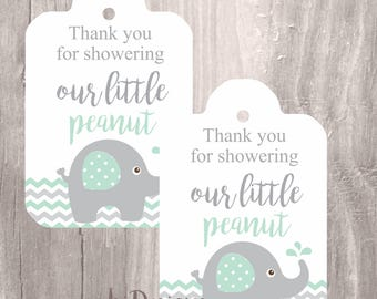 Elephant printable tags, Instant Download, baby shower favor tags, little peanut mint elephant printable tags, neutral baby shower