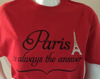 Eiffel tower Paris embroidered T shirt