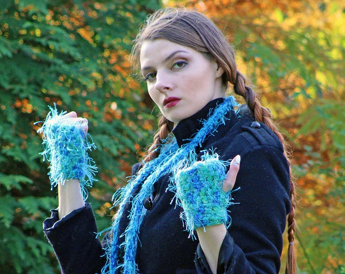 Gloves and Skinny Scarf Set  Fuzzy Soft Teal Blue Fingerless Long Soft Accessory Christmas  Gift for Girls, Teens or Women Ready to ship