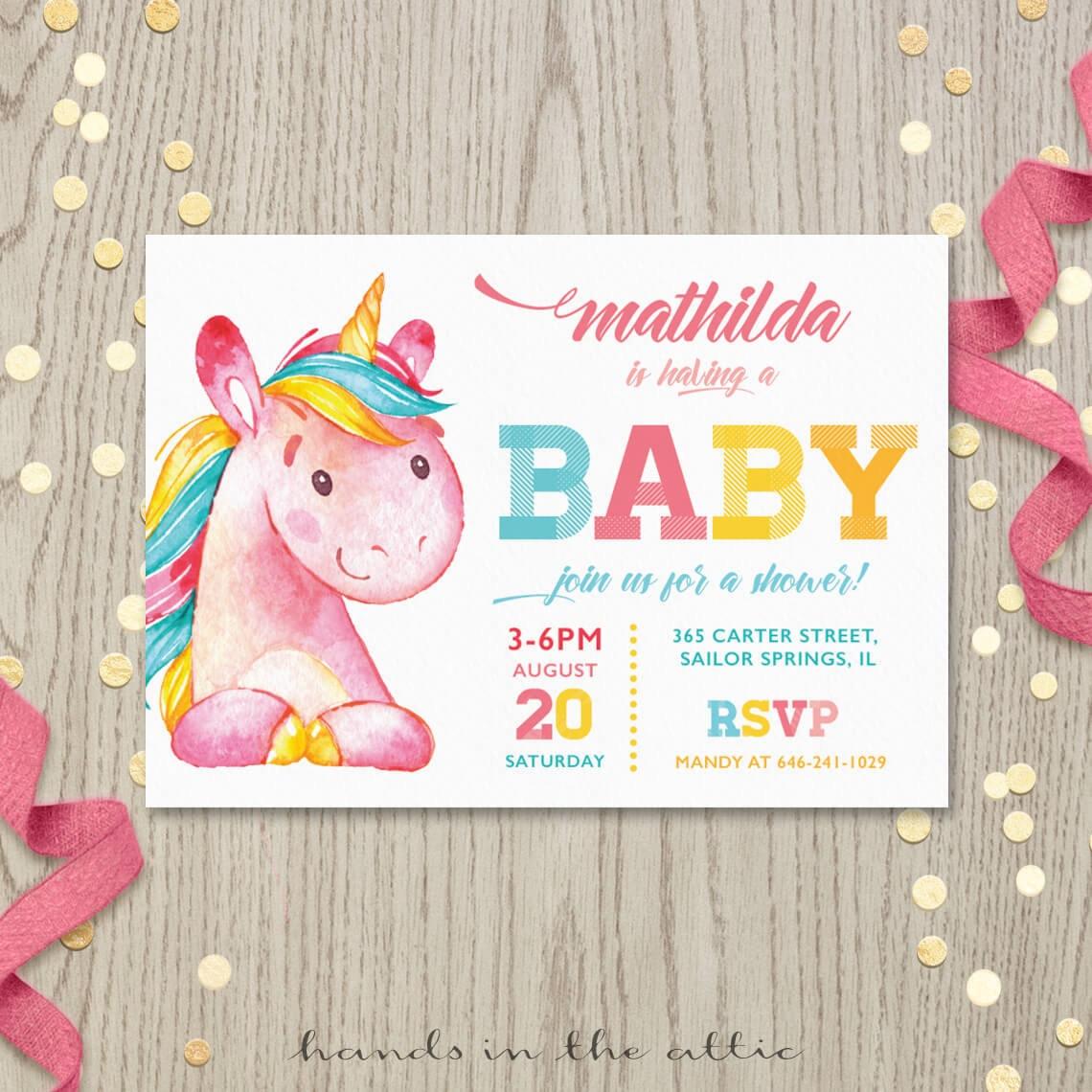 Unicorn baby shower invitation party printable invite