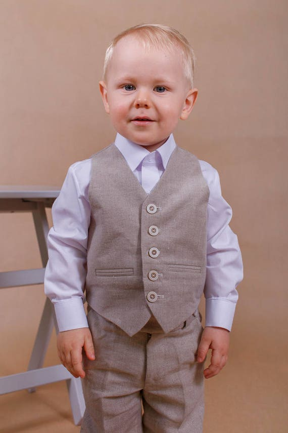 Ring bearer suit Linen boy outfit Wedding boy suit Ring bearer
