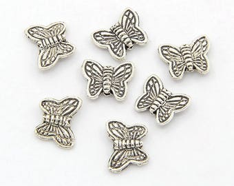 Set of 10 MINI Butterfly 10X8mm Tibetan silver beads