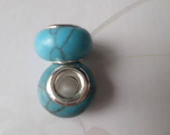 x 2 beads European Blueberry gemstone effect Crackle 14 mm
