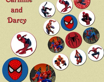 SPIDER MAN 2 inch circles, collage sheet, digital download, cake toppers!