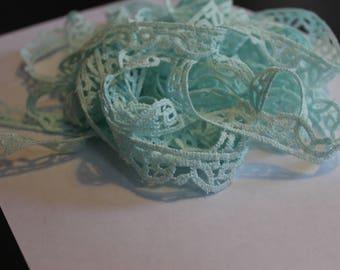 Mint green cotton scallop lace