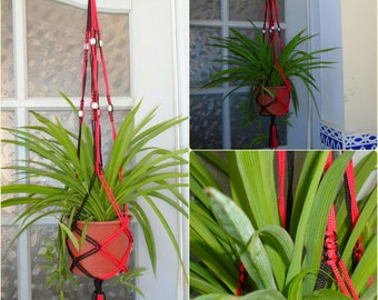 Red & Black Macrame plant hanger with Silver Beads