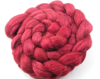 Spinning Fiber - Alpaca & Tussah Silk Combed Top - Red Chili Pepper