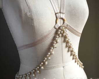 Pearl Drops Rhinestone Gold Chain Burlesque Halter Bra or Shimmy Belt Jewelry and Costume All In One Made to Order