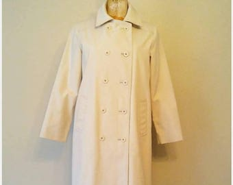 Vintage 1970s London Fog Trench Coat, Khaki Full Trench Coat, Full Length Trench Coat, Vintage Trench Coat, Cream Coat, Small Petite Trench