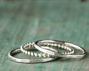 Silver Stacking Ring Set Sterling set of Three