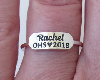 Personalized Class Ring, Name Ring, High School Ring, Graduation Ring, Sterling Silver Ring, Graduation Jewelry, Class of 2018