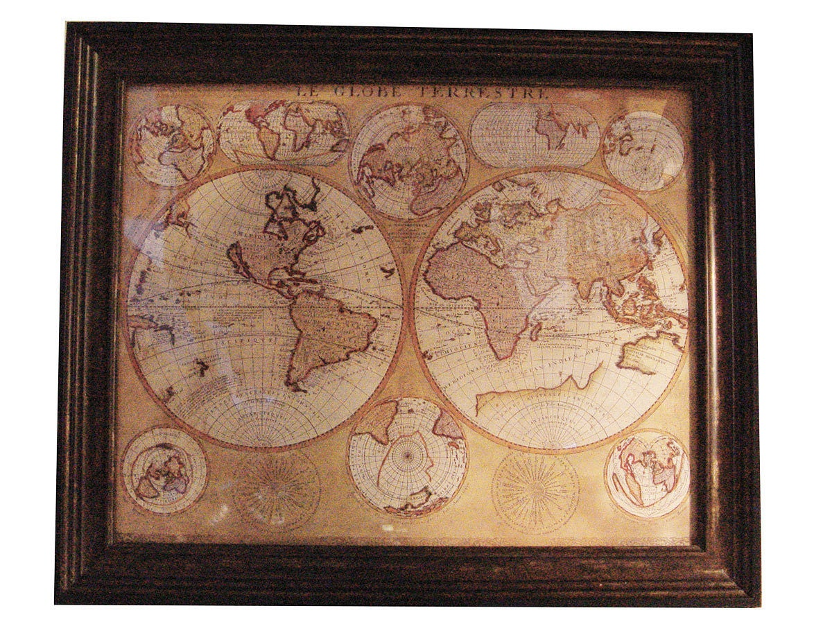 Vintage le globe terrestre 1690 world map walnutglass framed in vgc gallery photo gumiabroncs Gallery