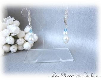 White and turquoise earrings v1 Crystal dangling earrings