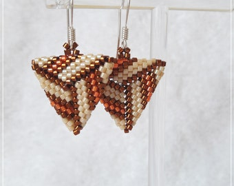 Cream, bronze and orange  peyote stitch triangle Miyuki Delica earrings aretes handmade jewelry 925 sterling silver earring hook