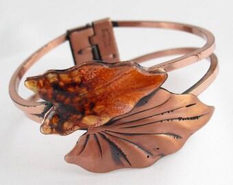 Copper Cuff Bracelet by Renior Enamel Autumn Leaves Vintage Matisse Jewelry Clamper