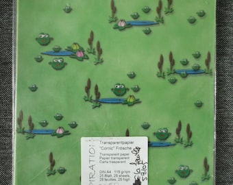 Transparent paper A4 pattern green frogs (2 sheets)