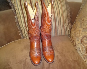 Brown Leather Justin Western Boots 9B