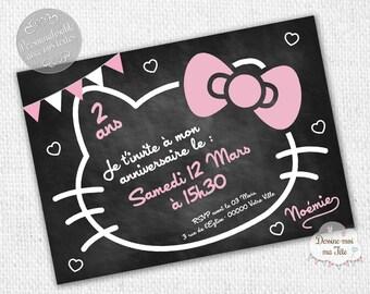 "Personalized ""Hello Kitty slate"" - personalized Invitation birthday invitation printable"