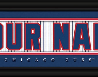 Chicago Cubs Jersey Stitch Personalized Print - FRAMED - MLB