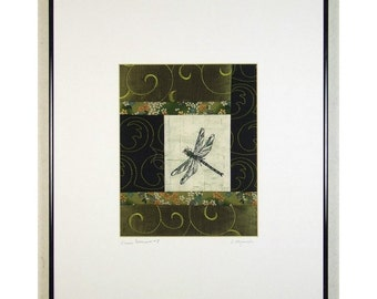 Dragonfly Mini Quilt Art Collage Log Cabin Patchwork Asian Style Spring Scroll Ready to Frame