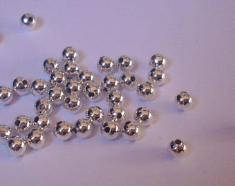500 beads silver-plated spacer 4 mm - Round Beads, Silver Color